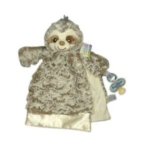 EBBA Luvie Sammie Sloth Security Blanket Baby Pacifier Holder Lovey Brown Satin