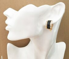 Gorgeous Black Glitter Half Hoop Stud Diamante CLIP ON Earrings *NEW*