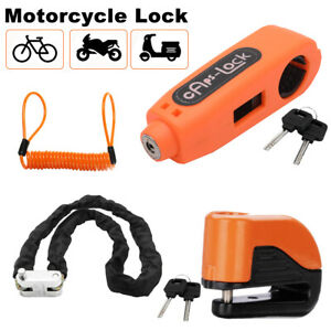 Grip Lock + Alarm Disc Security Lock + Remind Cable Motorcycle Dirt Road Bike AU