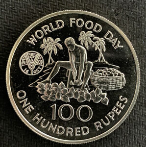 SEYCHELLES 1981 100 Rupees FAO world food day / .94 Oz silver Prf & *No Reserve!