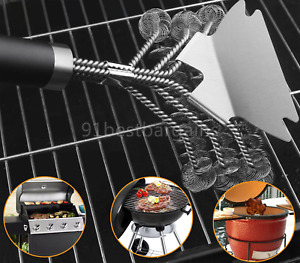 New Listing18 inch Stainless Steel Cleaner Bbq Brush Grill Wire Bristle Barbecue w/Scraper