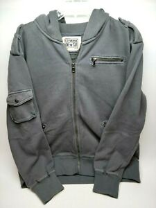 Converse One Star Mens Jacket Size XL Gray Full Zip Hooded Pockets