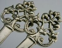 SOLID STERLING SILVER ART NOUVEAU SERVING SPOONS 1908 ANTIQUE 112g 9 inches