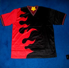 MENS COOL BLACK & RED FLAMES SPORT ATHLETIC SOCCER JERSEY SHIRT SIZE XLARGE NWT
