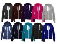New Ladies Women Fleece Hoodie Plain Zip Sweatshirt Top Hooded Jumper Jacket