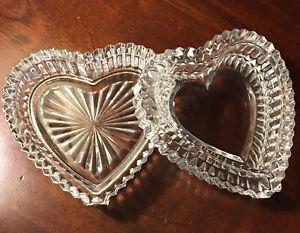Vintage Crystal Trinket Dish Heart-shaped Starburst Lidded Clear Glass