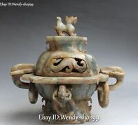 "12"" Chinese Old Jade Hand Carved Dragon Pixiu Beast Incense Burner Censer Statue"