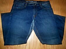 MENS GRUNGED OUT OLD NAVY FAMOUS STRAIT, 40X32 BLUE DENIM JEANS