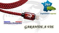 Cable Iphone 5 6 7 8 cordon fil usb rouge lightening garantie a vie costaud fort