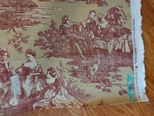"""New listing Waverly Idyllic Days Ruby Toile Fabric Red Gold 18 Yds x 54"""" Continuous 1 Piece"""