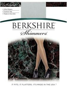 Berkshire Shimmers Ultra Sheer Control Top Silver Pantyhose Size 4