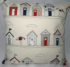 Beach Hut Nautical Cushion Cover & Laura Ashley Natural Gingham Fabric Seaside