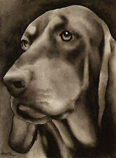Black and Tan Coonhound Art Print Sepia Watercolor 11 x 14 by Artist Djr