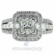 1.70 CARAT G SI1 CERTIFIED PRINCESS CUT DIAMOND ENGAGEMENT RING SET IN 14K