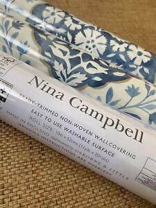 NINA CAMPBELL NCW4304-06 Marguerite Wallpaper In Blue 3 Rolls