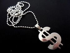 """A STAINLESS STEEL  DOLLAR SIGN NECKLACE. GOTH. 18"""" LONG. NEW."""