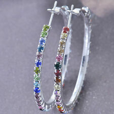 Multicolor Stunning crystals 9K White Gold Filled Women's Hoop Earrings Hoops !