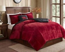 SHERPA PLUSH RED * Twin * COMFORTER SET : FAUX FUR CABIN BLACK BEAR FLEECE