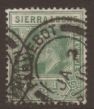SIERRA LEONE. EDVII. PLYMOUTH PAQUEBOT CANCEL. 1/2d GREEN USED.