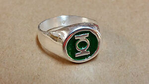 Awesome Silver Plated Green Lantern Power Ring, Sizes 9 10 11 12 13 14 15 New!