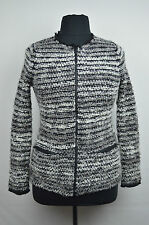[72 05] BLOOMINGDALES NWT GRAY STRIPED BOUCLE ZIP FRONT JACKET SZ XL EXTRA LARGE