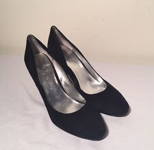 Bandolino 10 M Black Suede Stack Heels Classic Pumps Rounded Toe
