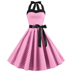 Womens Vintage Rockabilly 50s 60s Pinup Swing Cocktail Party Evening Midi Dress