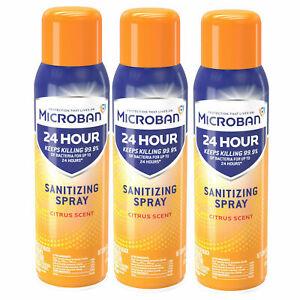 🌺 Lot Of (3) Microban 24 Hour Aerosol Surface Spray 15oz Each NEW