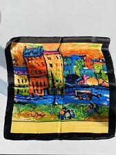 Oil Painting Print On Silk 100% Silk Scarf — Black Rim