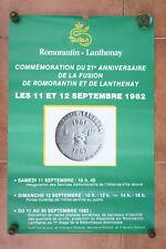 Affiche ancienne Fusion de ROMORANTIN et LANTHENAY 1982 vintage poster
