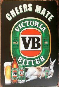 VB BEER Rustic Metal Tin Sign. Vintage Rustic Garage, & Man Cave