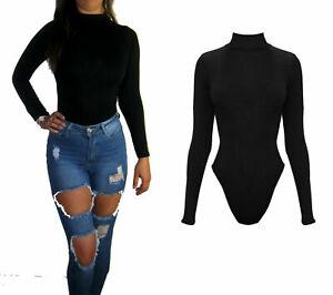 Women's Ladies Thong Bodysuit Body Black Polo Neck Long Size UK 8-20