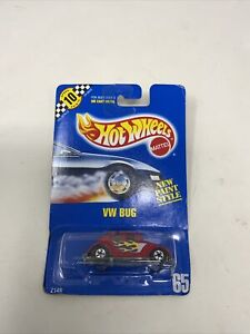 VW Volkswagen Bug Red With Flames #65 1990 Hot Wheels Mattel NEW Speed Point