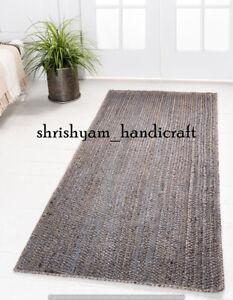 Handmade Braided Jute Rug Rectangle Jute Rug Bohemian Jute Rug Home Decor Carpet