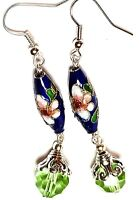 Long Green Blue Chinese Cloisonne Bead Earrings Antique Vintage Style Pierced