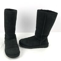 UGG Australia 5815 Tall Shearling Suede Boots Womens Size 7  Black