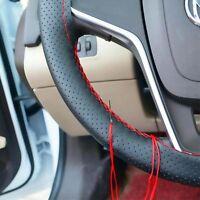 Luxury Cowhide Leather Car Truck Steering Wheel Cover + Needles + Thread DIY