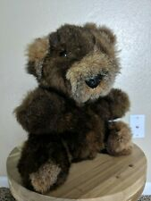 "Brown 10"" REAL FUR TEDDY BEAR VINTAGE MADE IN KOREA MINK HANDMADE RARE VINTAGE"
