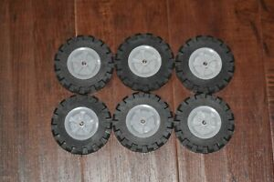 """Knex 6 Large Tires 3.5"""" with Gray Hubs Pulleys K'nex 3 1/2"""" Wheels Lot"""