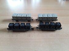 Spur tt BttB/Zeuke 4x Kohlebehälterwagen gut/bespielt