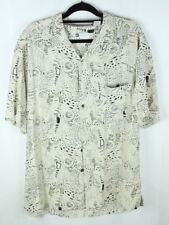 Bachrach Men's Large Silk Short Sleeve Button Front Cream Black Print Camp Shirt