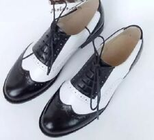 Oxford Women Girl Wingtip Brogue Lace Up Pointed Toe Black & White Shoes Retro