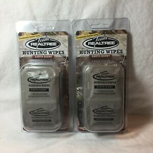 2-14 Packs / Team RealTree- Individual Pre Moistened Hunting Wipes Earth Scent