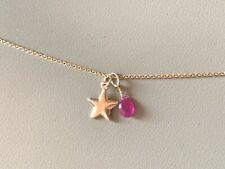gold star charm ruby teardrop puffy pendant gold dangle drop fine real 14k gold