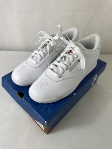 REEBOK  Ladies White Princess Classic Leather Lace Up Trainers In Box Size 6 UK
