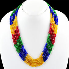 SUPERB 5 LINE 401.05 CTS EARTH MINED RUBY, EMERALD & SAPPHIRE BEADS NECKLACE