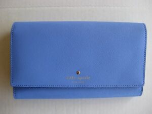 NWT Kate Spade New York Mikas Pond Phoenix Trifold Leather Wallet Delphinium