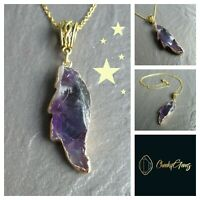 """Amethyst Angel Wing Gemstone Pendant Gold Necklace Chain Natural Healing 14""""-24"""""""