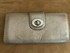 Coach wallet turnlock metallic leather envelope womens bifold