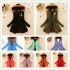 Women Winter Parka Outwear Thicken Long Coat Fur Collar Hooded Quilted Jacket **